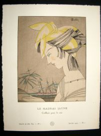 Gazette du Bon Ton by Charles Martin 1920 Art Deco Pochoir. Le Madras Jaune